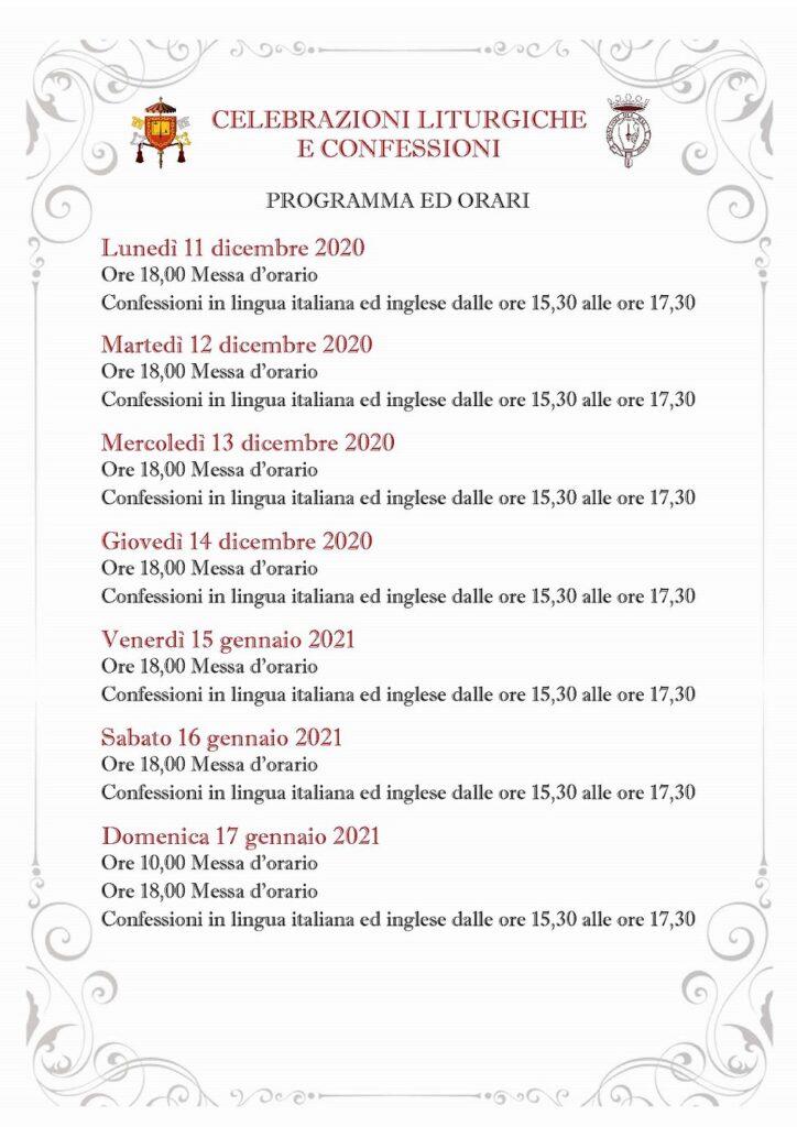 bspfm - celebrazioni dal 11 gennaio 2021