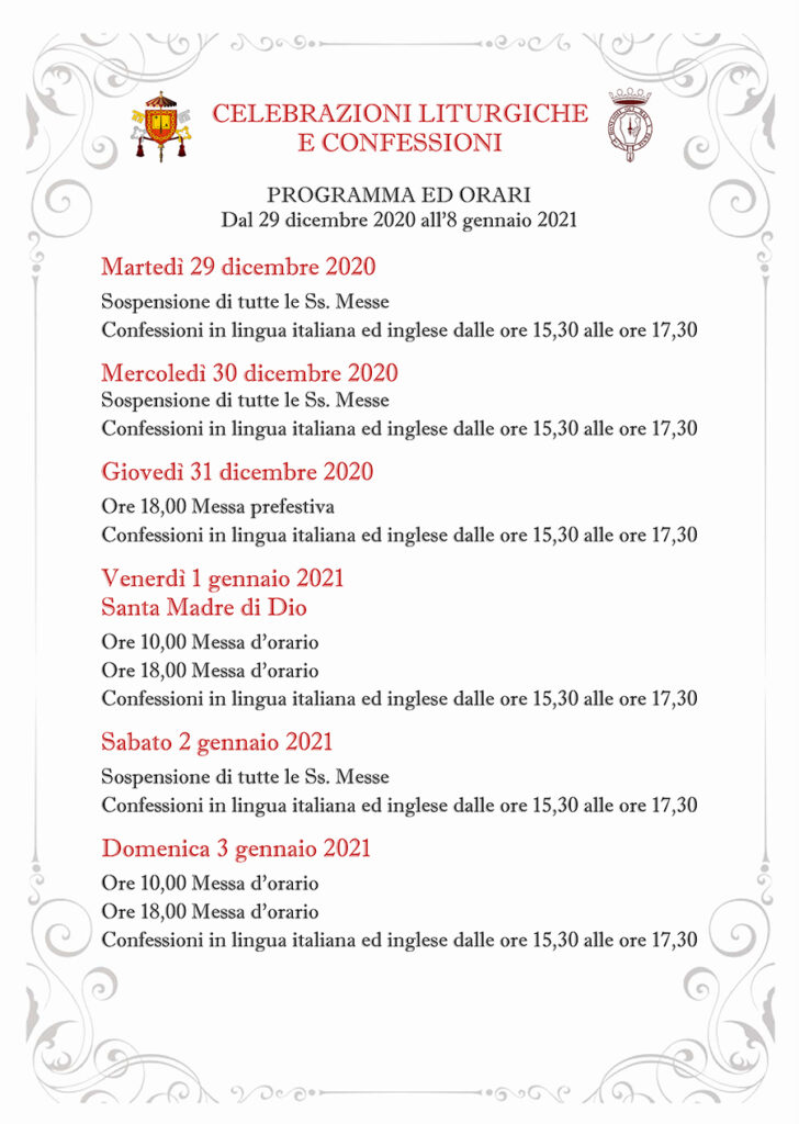 ORARIO CELEBRAZIONI E CONFESSIONI DAL 29 DICEMBRE 2020